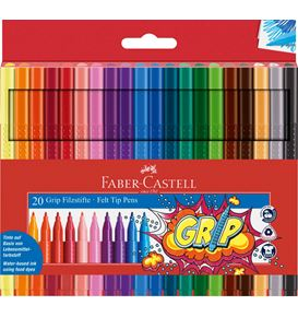 Faber-Castell - Fibre-tip pen Grip Colour Marker plastic case of 20