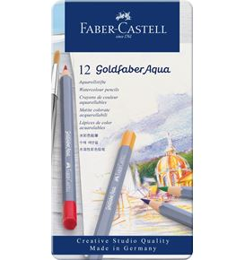 Faber-Castell - Watercolour pencil Goldfaber Aqua tin of 12