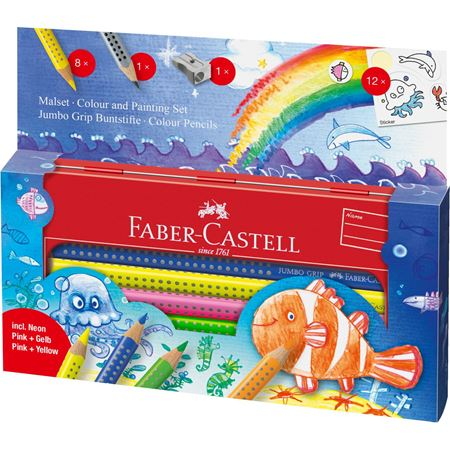 Faber-Castell - Jumbo Grip colour + painting set underwater world