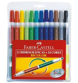 Faber-Castell - Fibre tip pen Bicolor wallet of 12