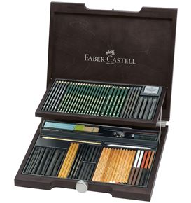 Faber-Castell - Pitt Monochrome wooden case, 85 pieces