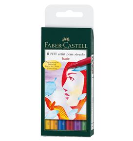 Faber-Castell - Pitt Artist Pen Brush India ink pen, wallet of 6, Basic