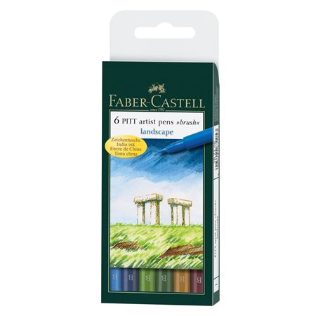 Faber-Castell - India ink Pitt Artist Pen B box of 6 'landscape'