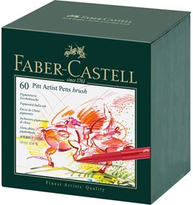 Faber-Castell - Pitt Artist Pen Brush India ink pen, studio box of 60