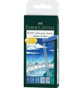 Faber-Castell - India ink Pitt Artist Pen B shades of blue wallet of 6