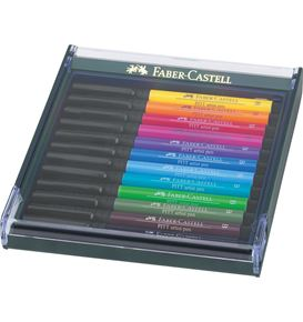 Faber-Castell - Pitt Artist Pen Brush India ink pen, set of 12, Basic tones